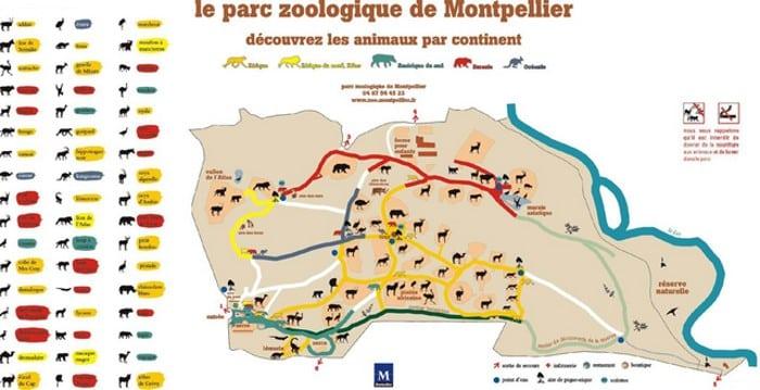 plan de la visite du zoo du launaret de Montpellier